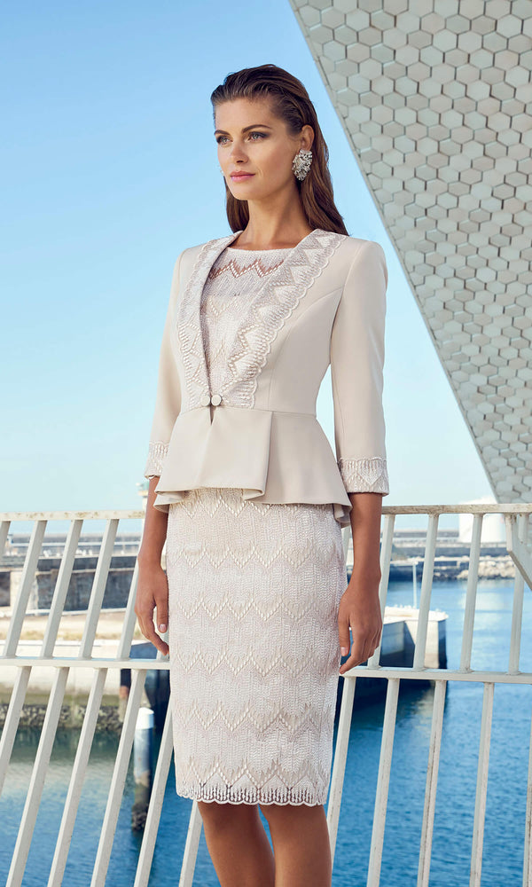 95654 Almond Carla Ruiz Lace Dress & Peplum Jacket