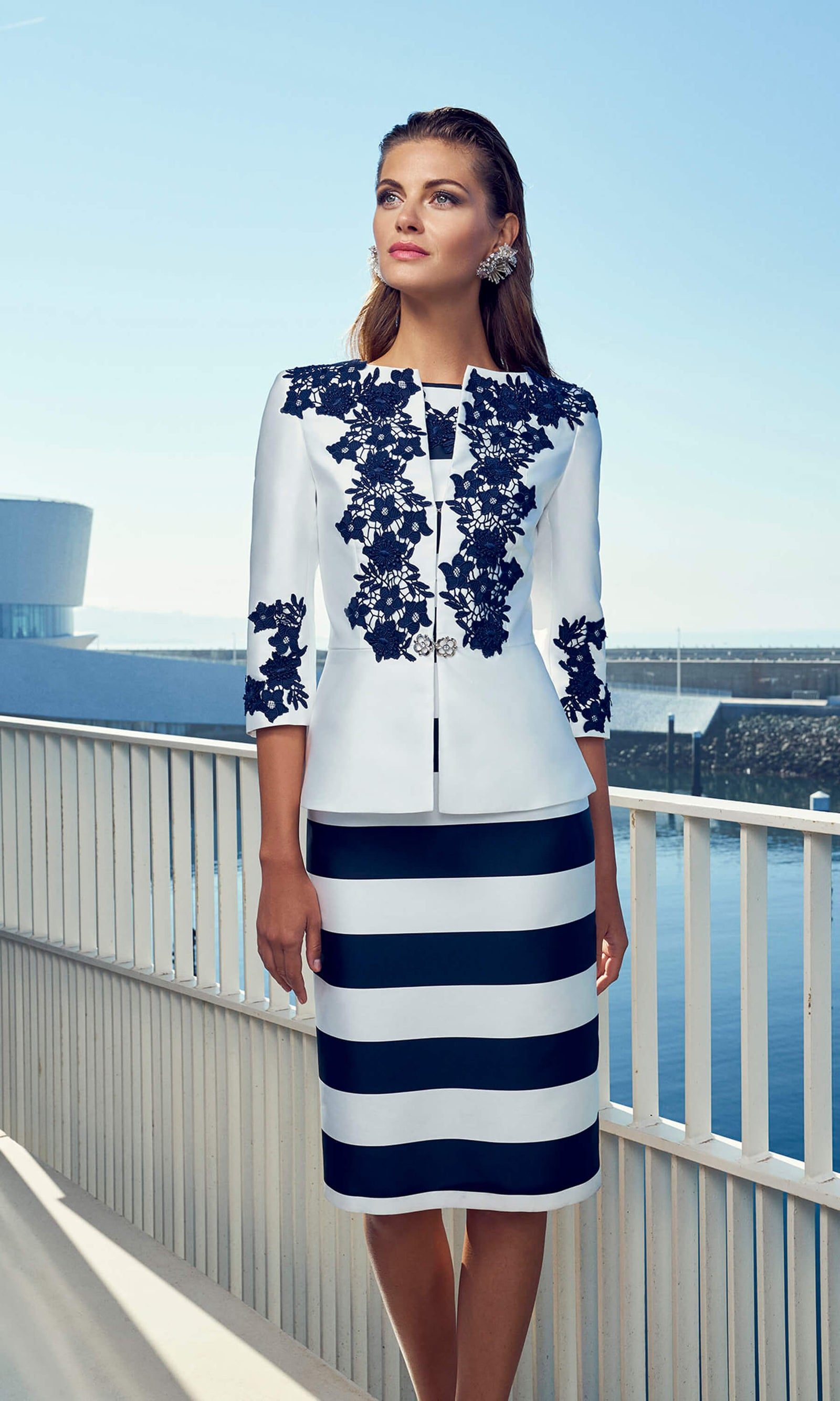 95679 Navy White Carla Ruiz Stripe Dress & Jacket - Fab Frocks