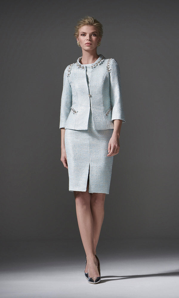 96088 Mint Green Carla Ruiz Tweed Inspired Dress & Jacket