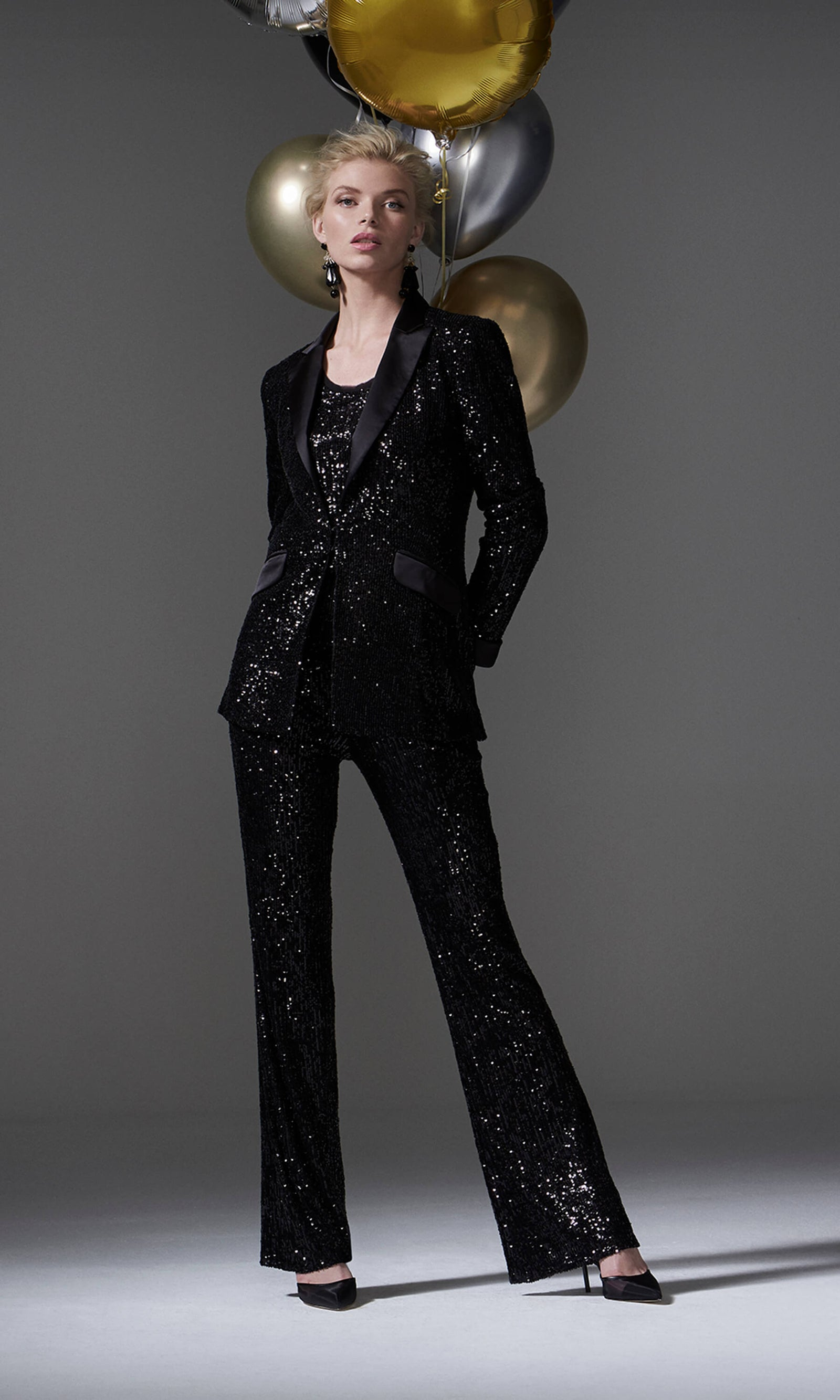 96094 Black Carla Ruiz Sequin Tuxedo Evening Trouser Suit