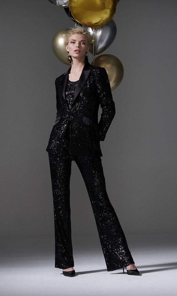 96094 Black Carla Ruiz Sequin Tuxedo Evening Trouser Suit - Fab Frocks