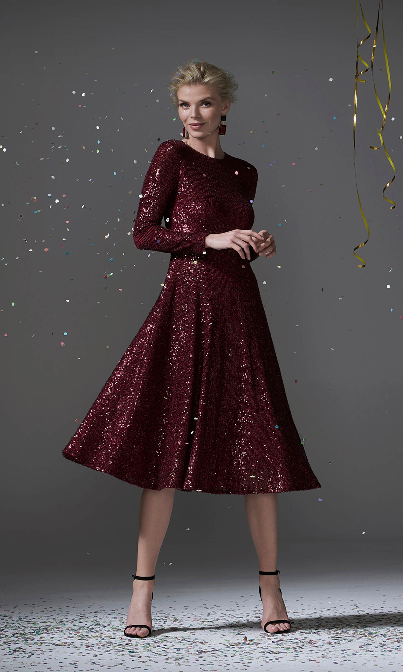 96096 Dark Red Carla Ruiz Sequin Party Dress With Sleeves - Fab Frocks