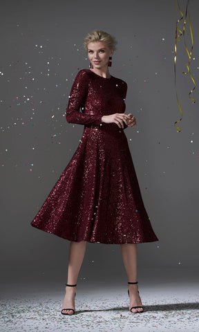 96096 Dark Red Carla Ruiz Sequin Party Dress With Sleeves