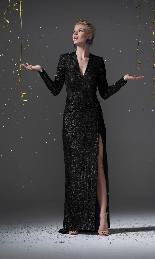 96100 Black Carla Ruiz Sequin Evening Dress With Sleeves