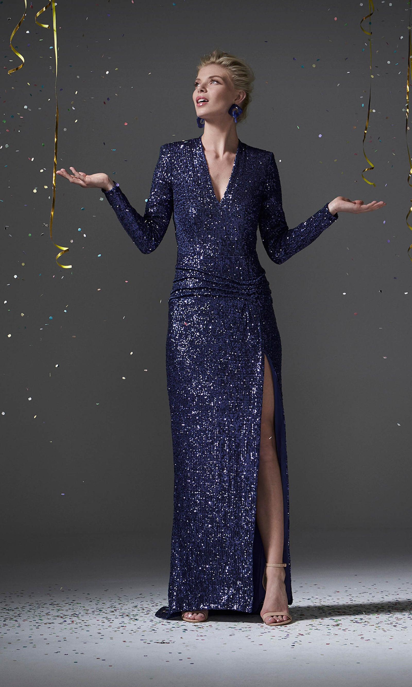 96100 Blue Carla Ruiz Sequin Evening Dress With Sleeves - Fab Frocks