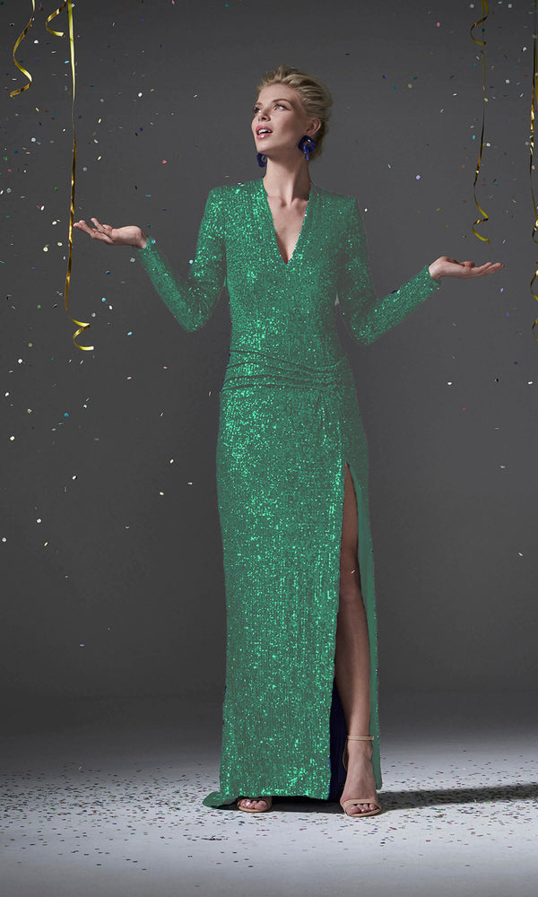 96100 Green Carla Ruiz Sequin Evening Dress With Sleeves