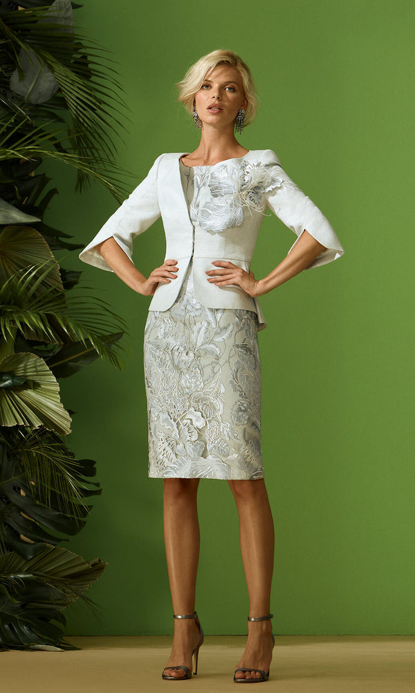 96728 Grey Carla Ruiz Embroidered Overlay Dress & Jacket - Fab Frocks