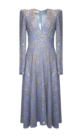 97037 Silver Blue Carla Ruiz Sequin Cocktail Party Dress - Fab Frocks