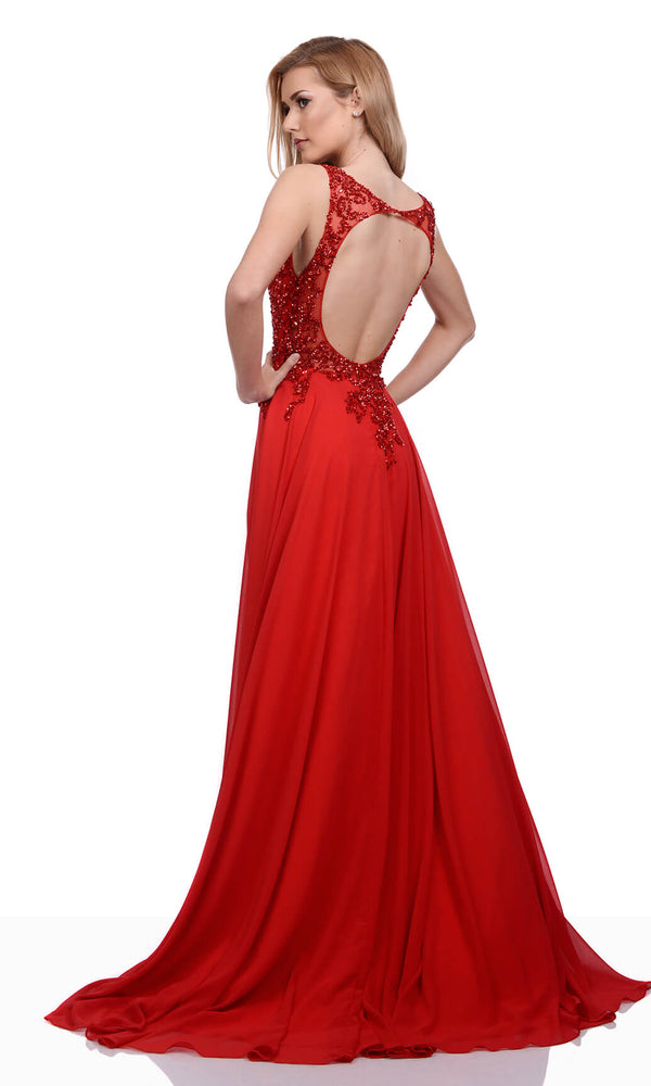 0036 Salsa Red Christian Koehlert Open Back Evening Prom Dress - Fab Frocks
