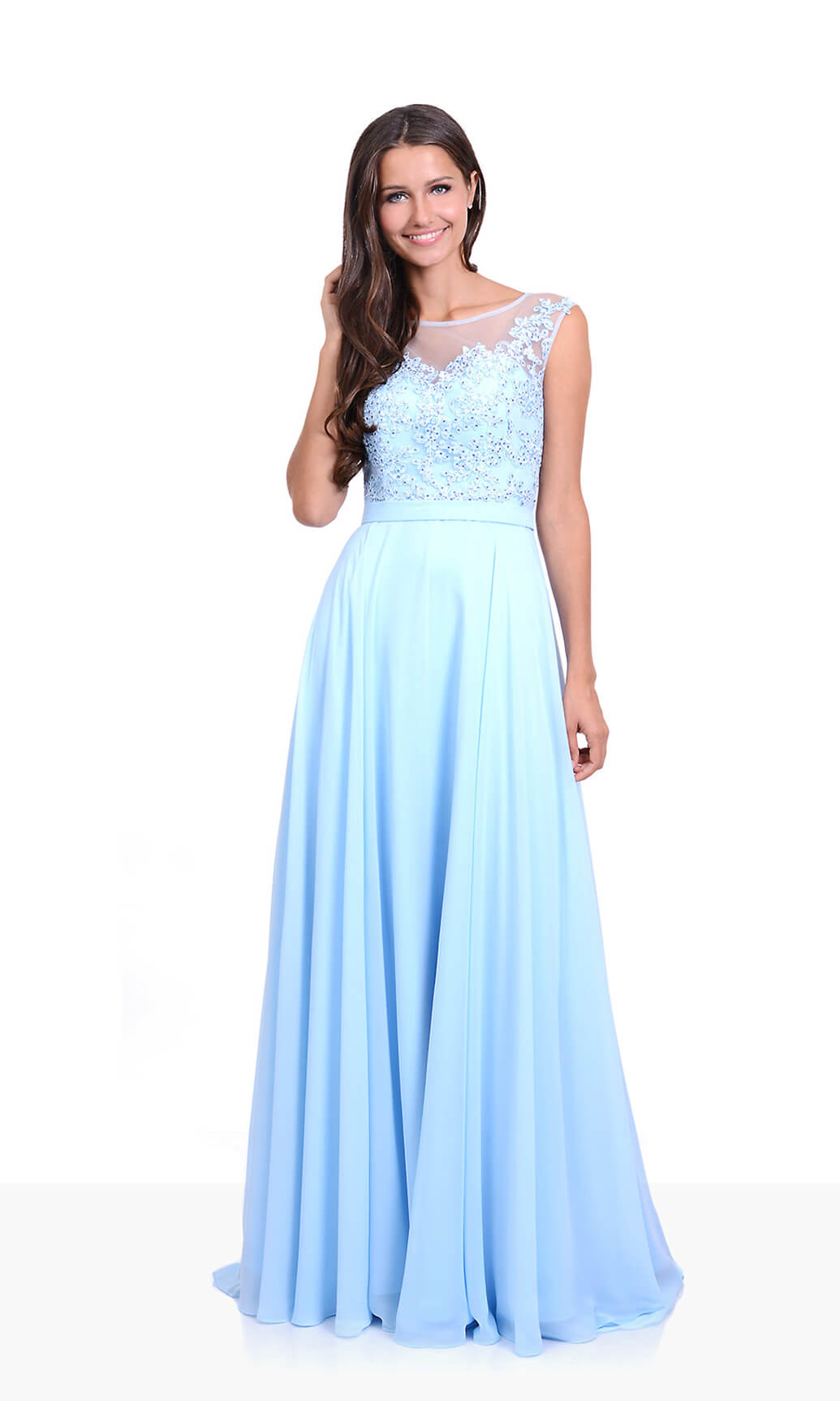 0132 Aqua Blue Christian Koehlert Evening Prom Dress - Fab Frocks