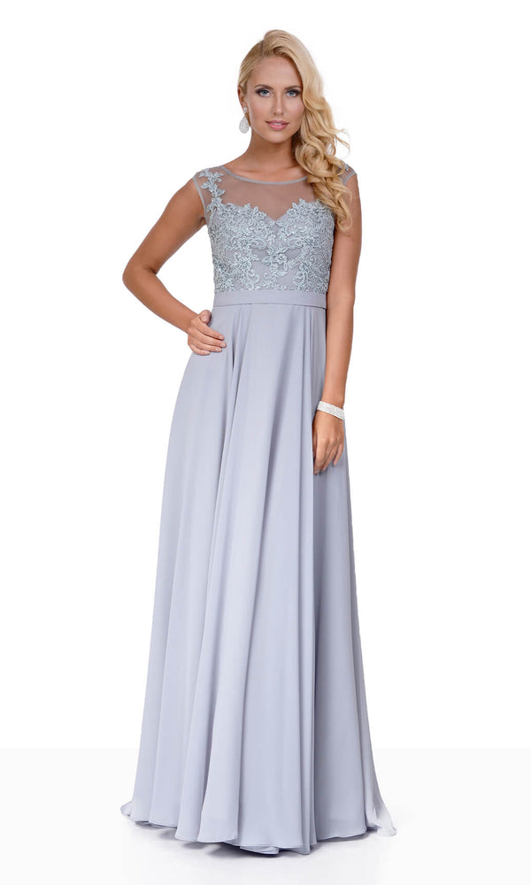 0132 Ghost Grey Christian Koehlert Evening Prom Dress - Fab Frocks