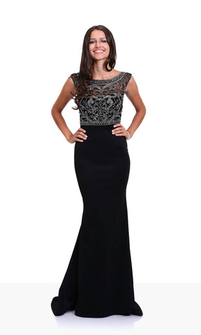 0430 Phantom Black Christian Koehlert Beaded Top Dress - Fab Frocks