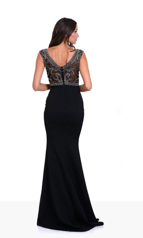 0430 Phantom Black Christian Koehlert Beaded Top Dress