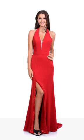 0438 Salsa Red Christian Koehlert Low Ruffle Back Dress