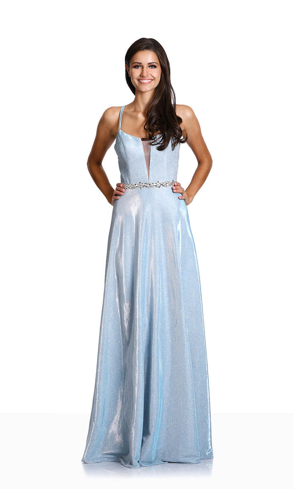 0456 Aqua Christian Koehlert Glitter Fabric Dress