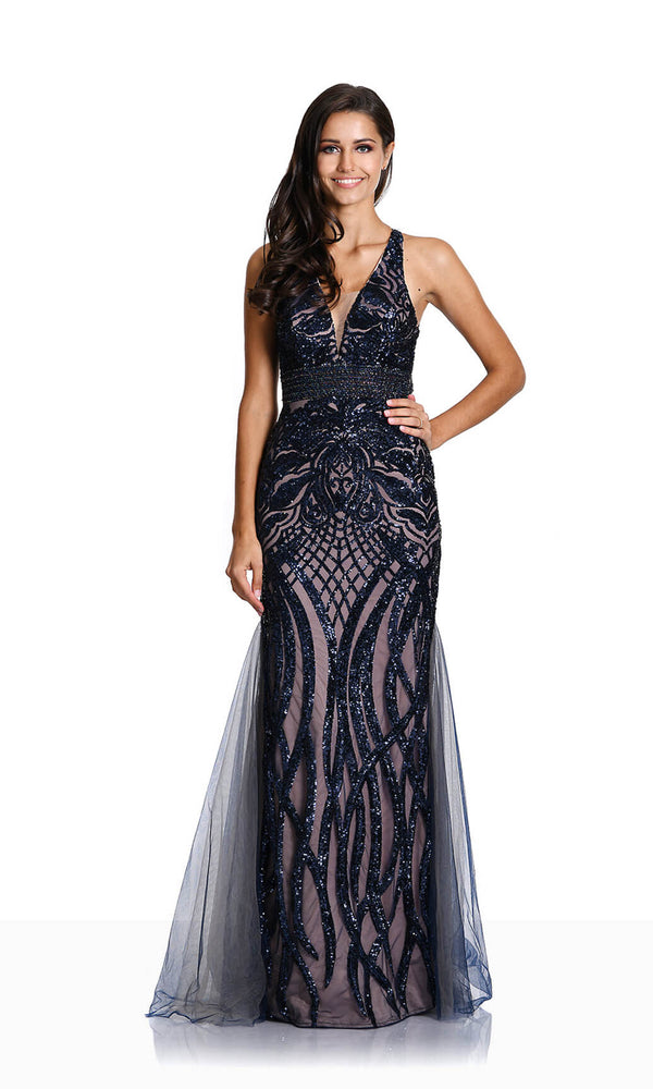 0479 Twilight Blue Christian Koehlert Low Back Sequin Dress - Fab Frocks
