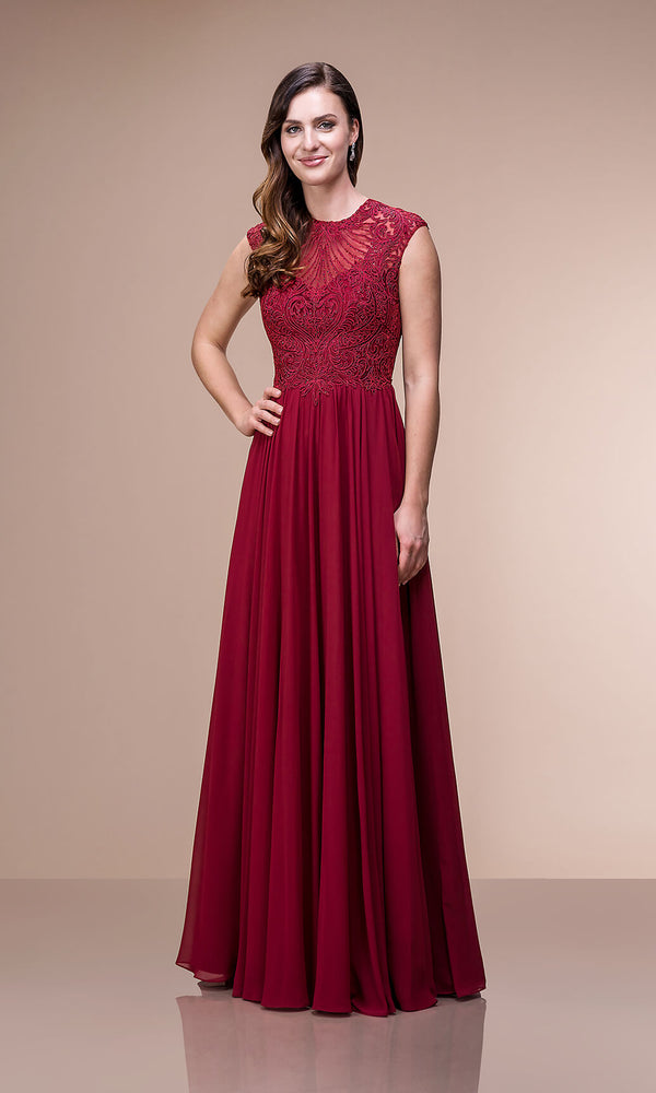 0512 Rio Red Christian Koehlert High Neckline Dress