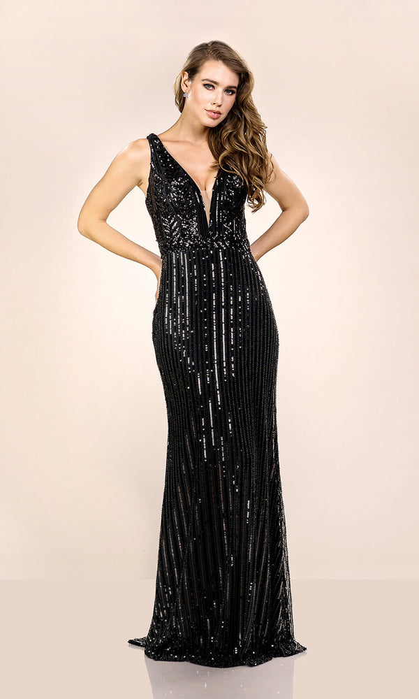 0562 Phantom Black Christian Koehlert Low Back Sequin Dress
