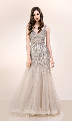 0571 Ghost Grey Christian Koehlert Mermaid Style Dress