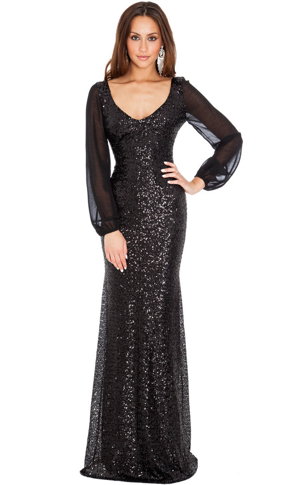 DR267A Black City Goddess Sequin Evening Dress & Sleeves