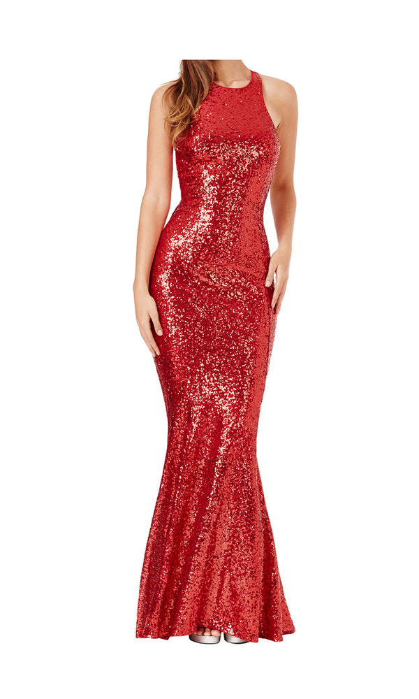 DR757S Red City Goddess Sequin Low Back Dress With Bow