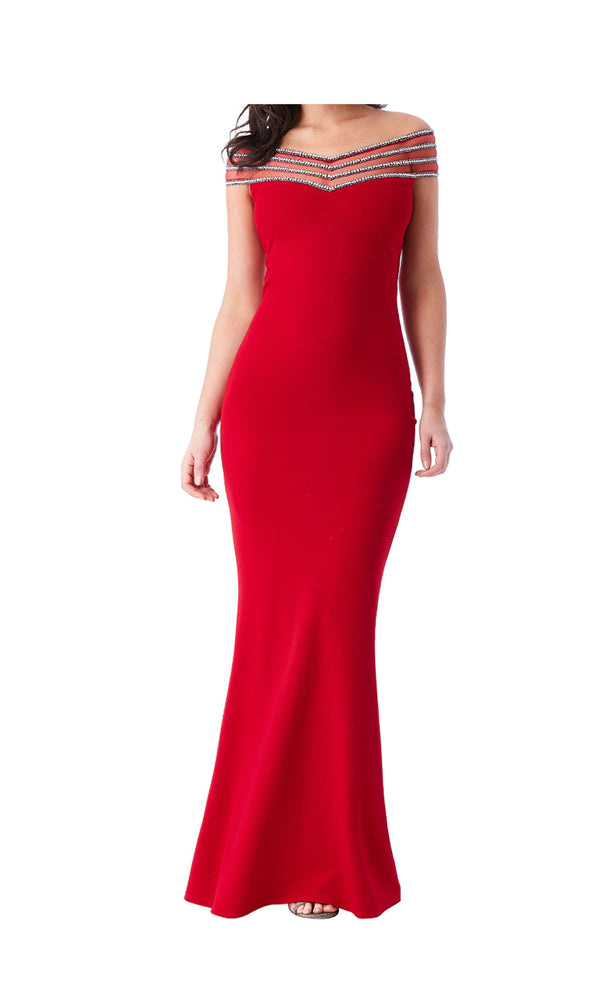 DR991 Red City Goddess Diamante Off The Shoulder Dress
