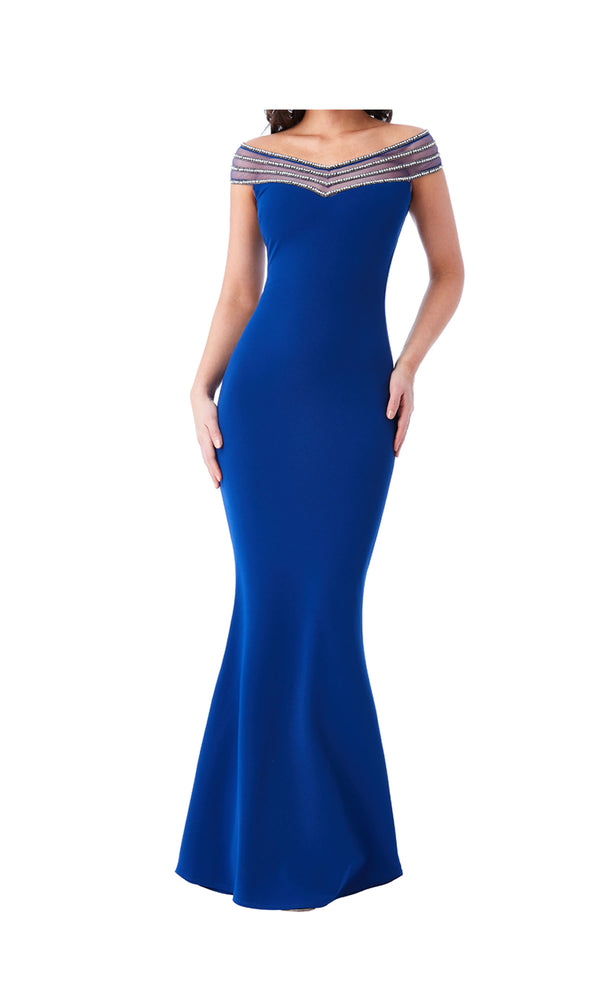 DR991 Royal Blue City Goddess Bardot Diamante Neck Dress