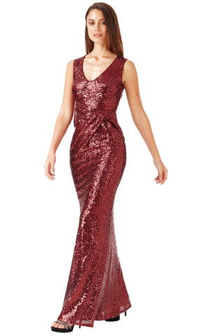 DR926 Wine City Goddess Sequin Ruched Party Dress