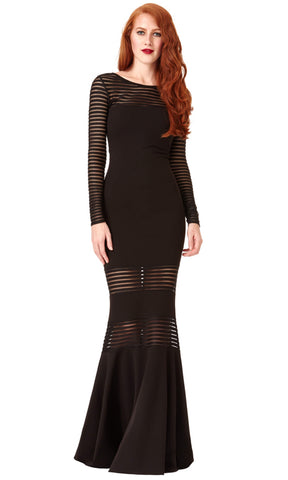 DR983 Black City Goddess Banded Dress With Sleeves