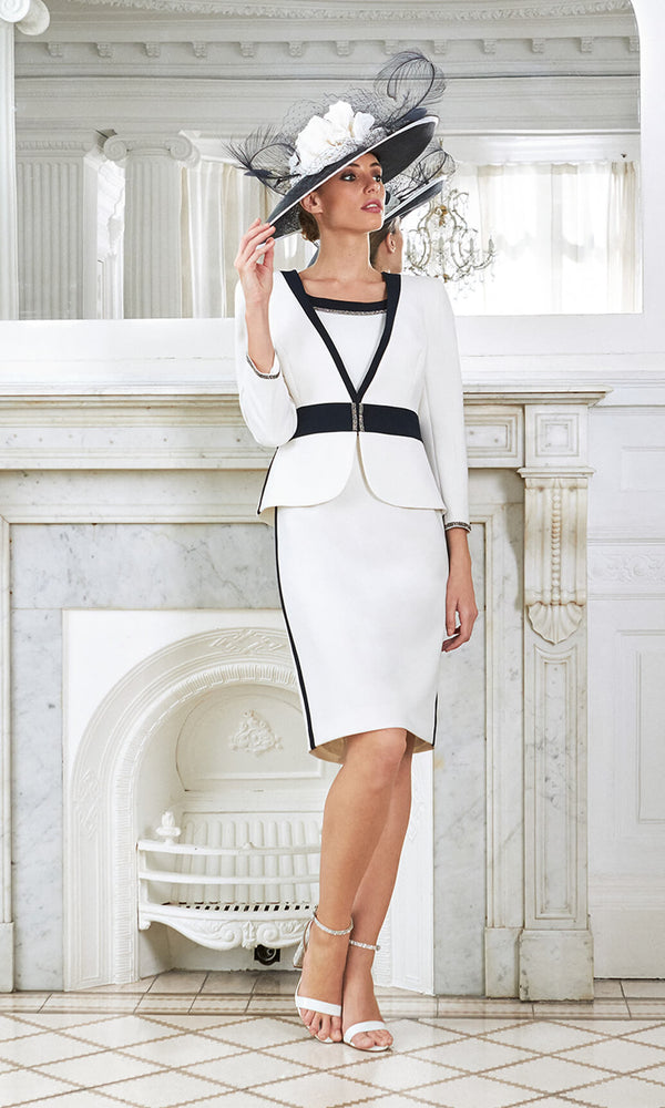 Alcudia Menorca Navy White Claudia C Dress & Jacket - Fab Frocks