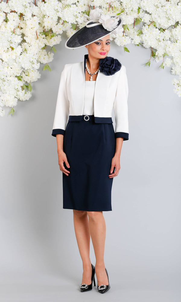 Erika Fabiola Navy Claudia C Cap Sleeve Dress With Bolero