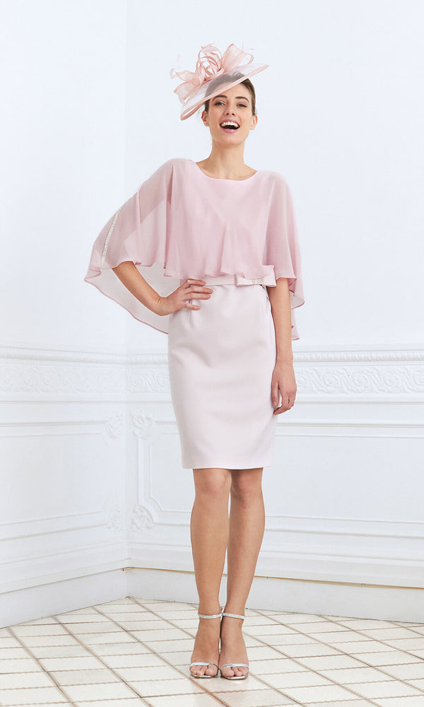 Soller Pink Claudia C Pencil Dress With Chiffon Cape - Fab Frocks