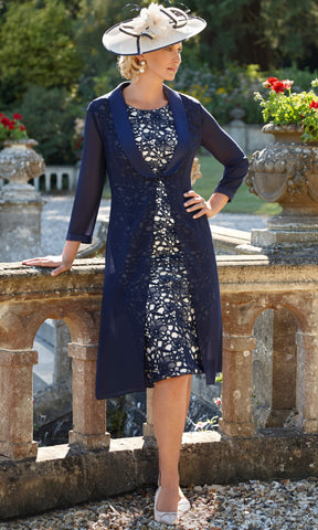 11290 Navy Condici Lace Dress & Chiffon Coat - Fab Frocks