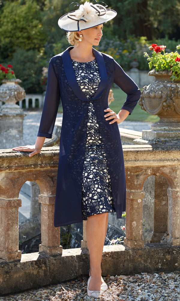11290 Navy Condici Lace Dress & Chiffon Coat