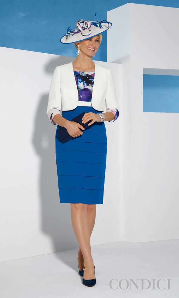 11364 Fanfare Blue Condici Layered Dress With Bolero - Fab Frocks
