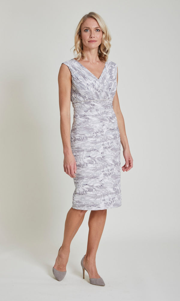 11372 Condici Mineral Silver Grey Ruched Dress & Bolero - Fab Frocks
