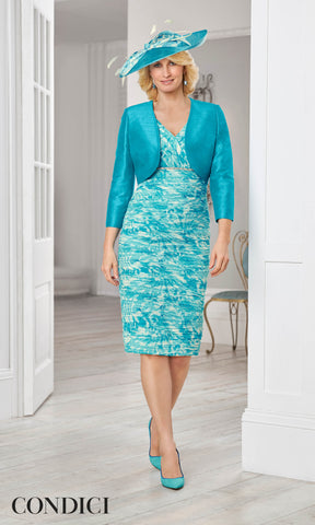 11372 Condici Evie Teal Luxe Ruched Dress & Bolero - Fab Frocks