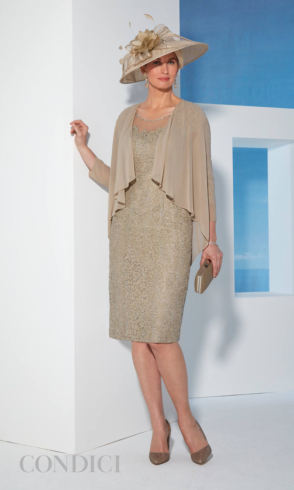 70965 Latte Condici Gold Metallic Lace Dress & Jacket - Fab Frocks