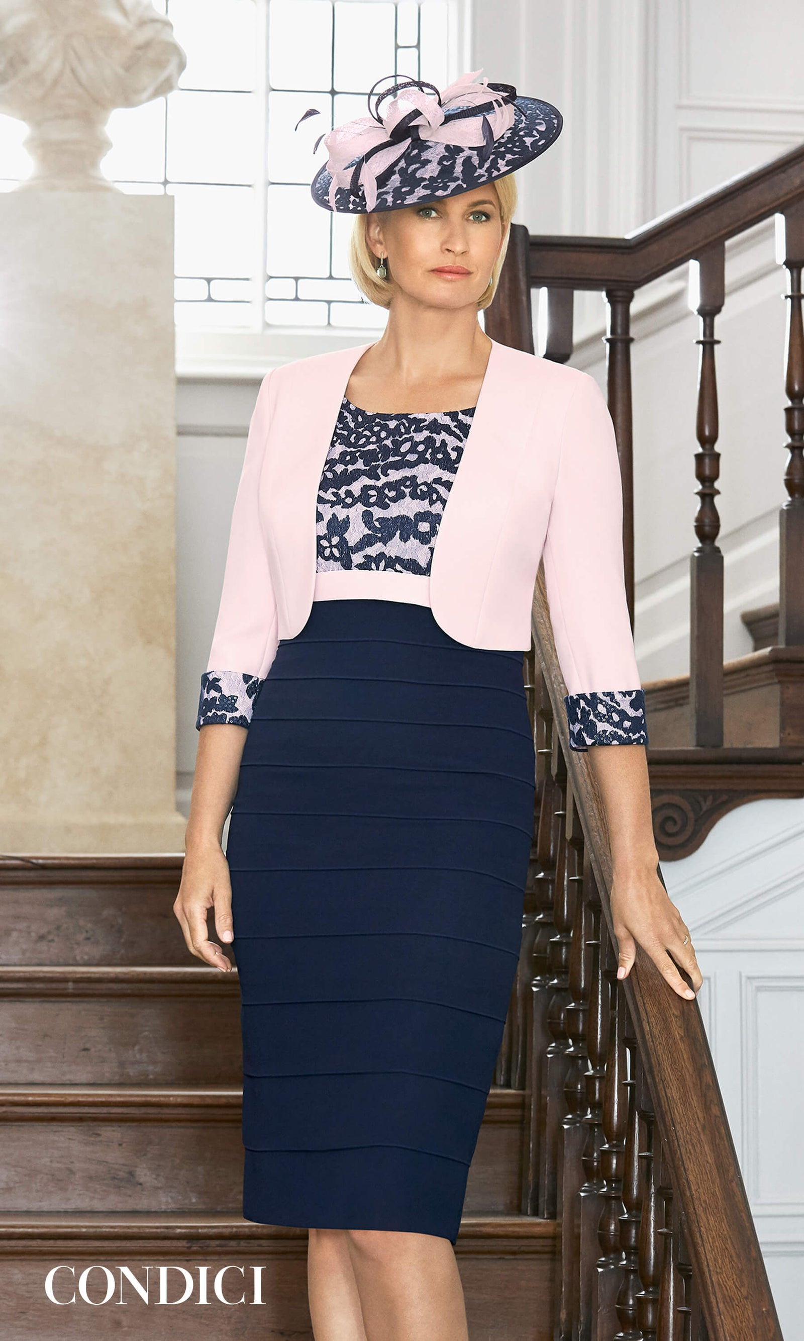 70981 Rose Rendezvous Condici Navy Layered Dress & Bolero - Fab Frocks