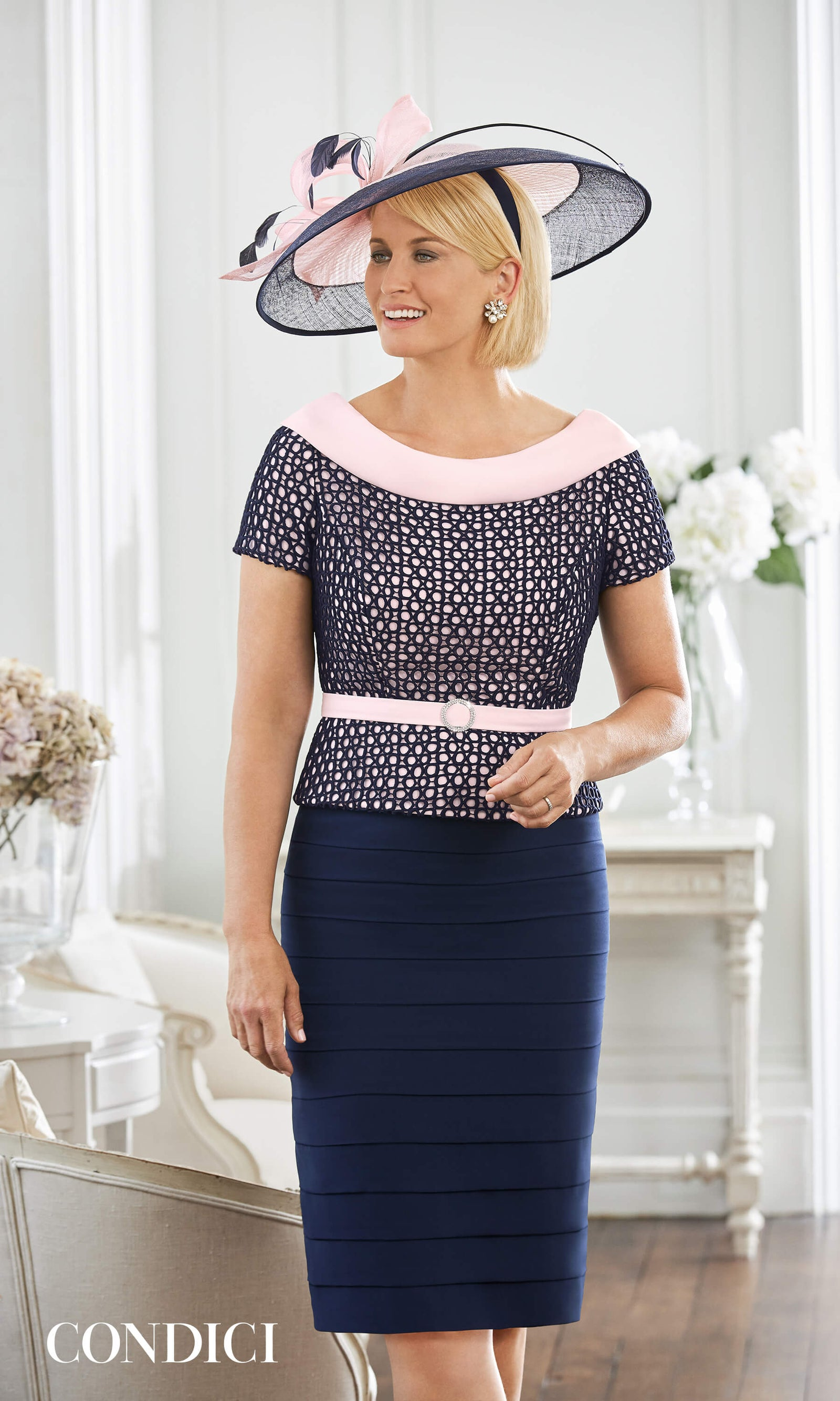 70985N Navy Rose Condici Mother Of The Bride Dress - Fab Frocks
