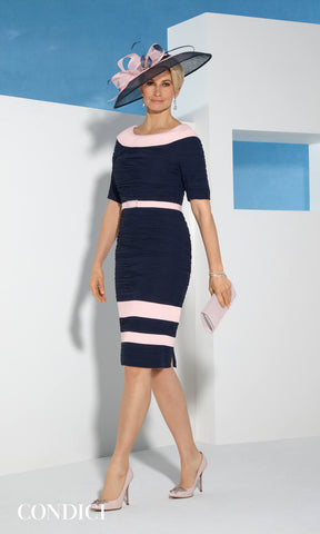 70990N Navy Condici Ruched Occasion Dress With Sleeves