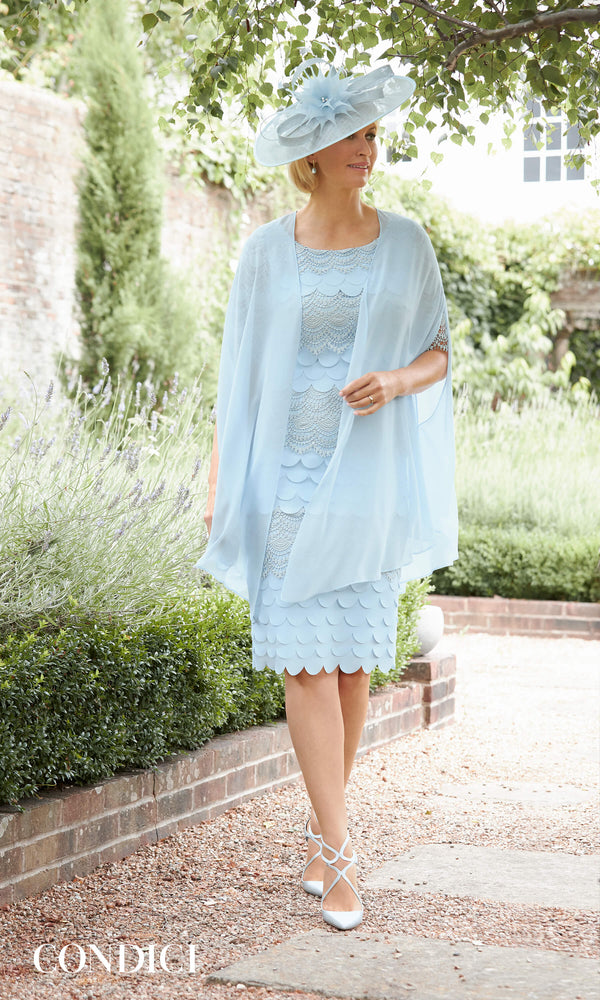 70993 Robin Egg Condici Scallop Layer Dress & Chiffon Jacket
