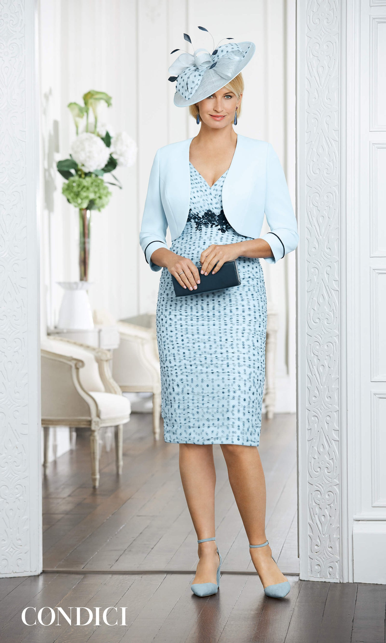 71005 Robin Egg Condici Net Polka Dot Dress & Bolero