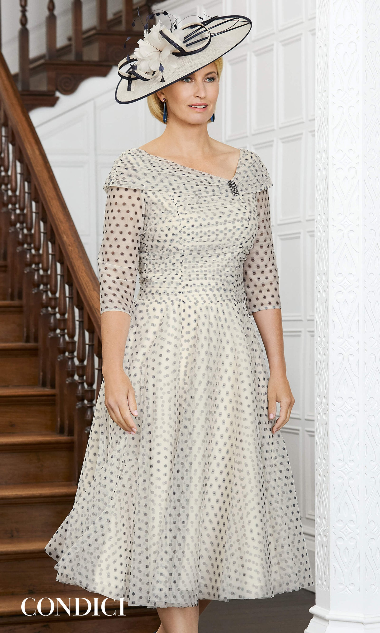 71007 Alabaster Condici Net Occasion Dress With Sleeves - Fab Frocks