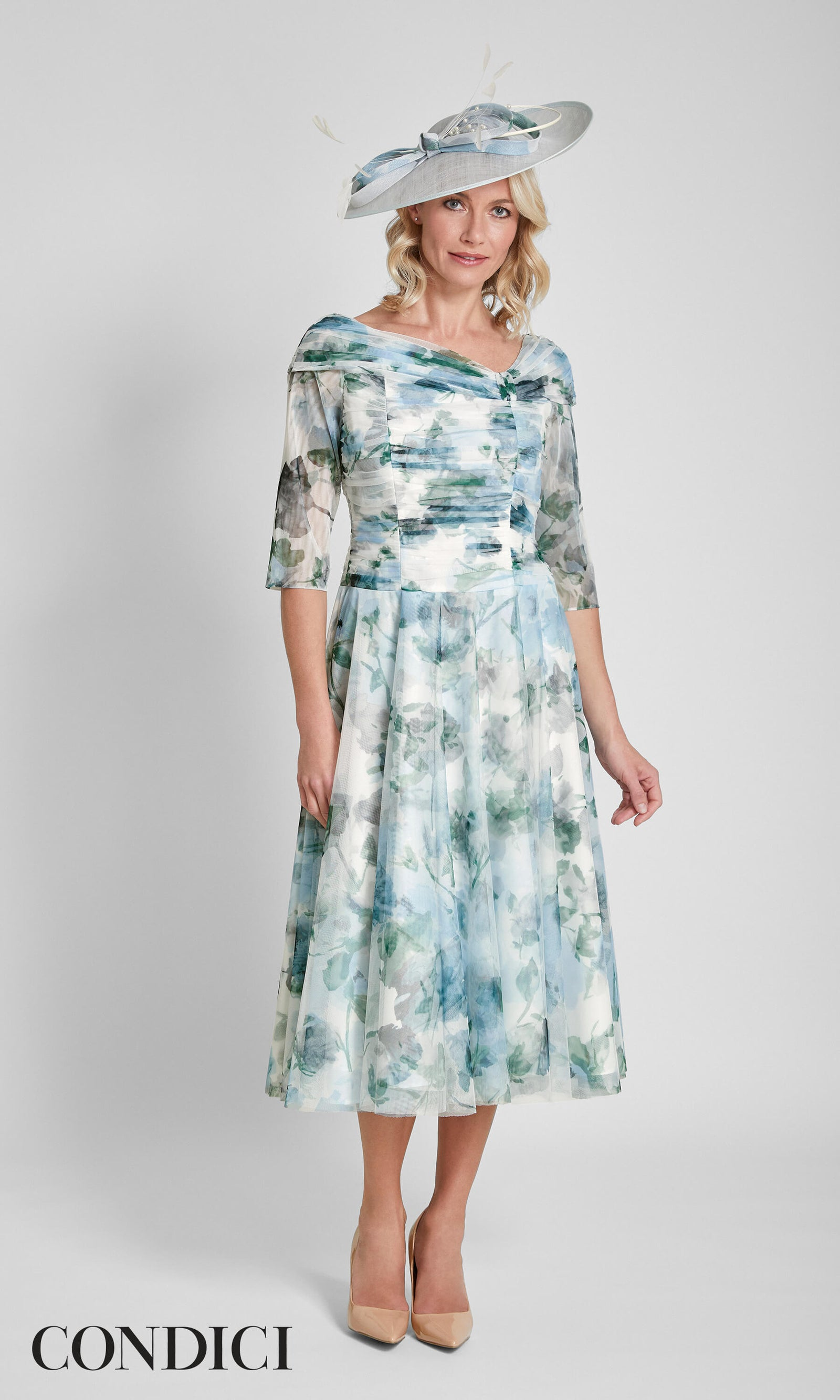 71014 Condici Blue Dolce Vita Cosmic Sky Dress - Fab Frocks
