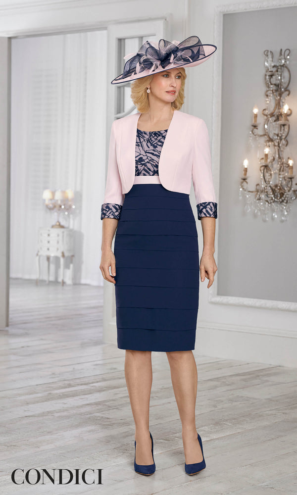 71025 Condici Pink Rosewater Navy Dress & Bolero - Fab Frocks