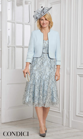 71029 Condici Blue Cosmic Sky Dress & Bolero - Fab Frocks