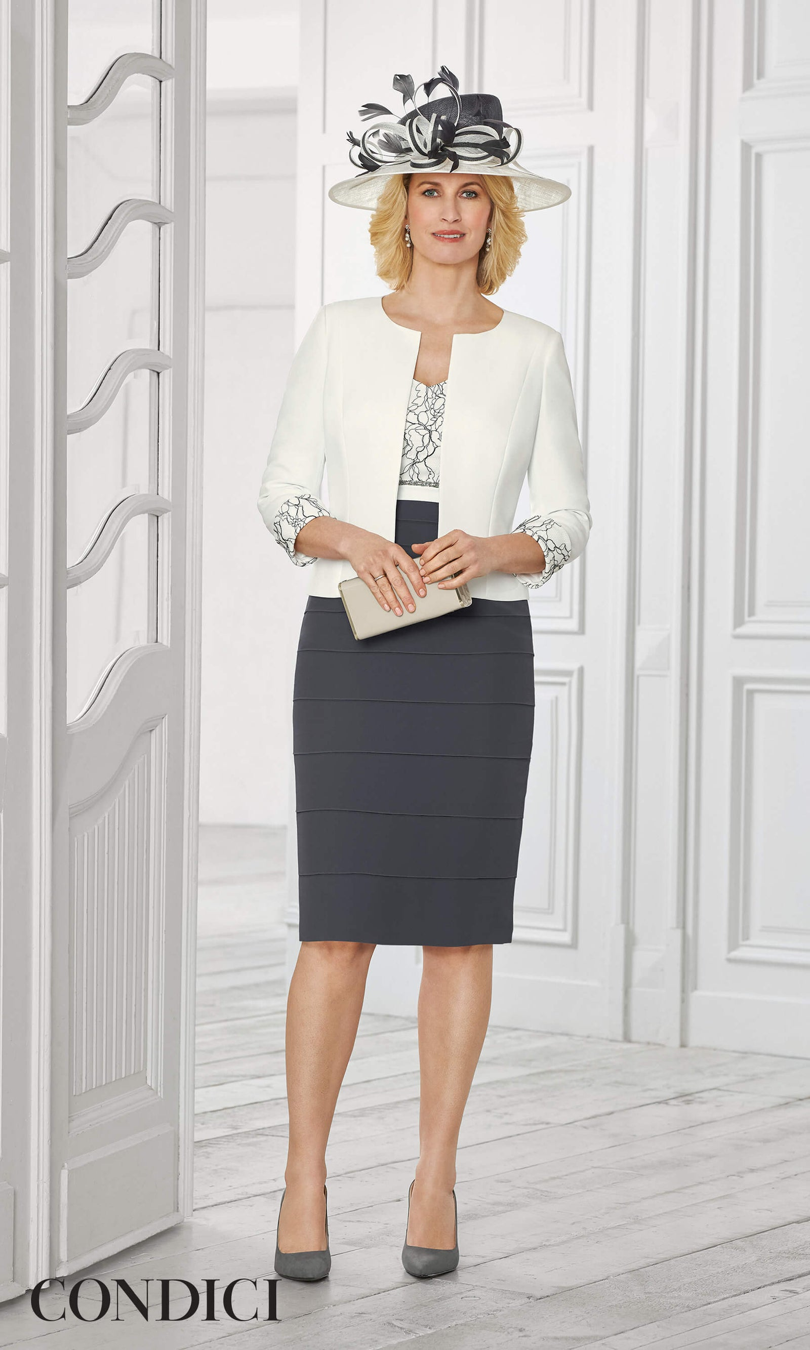 71030 Condici Cream Slate Grey Dress & Bolero - Fab Frocks