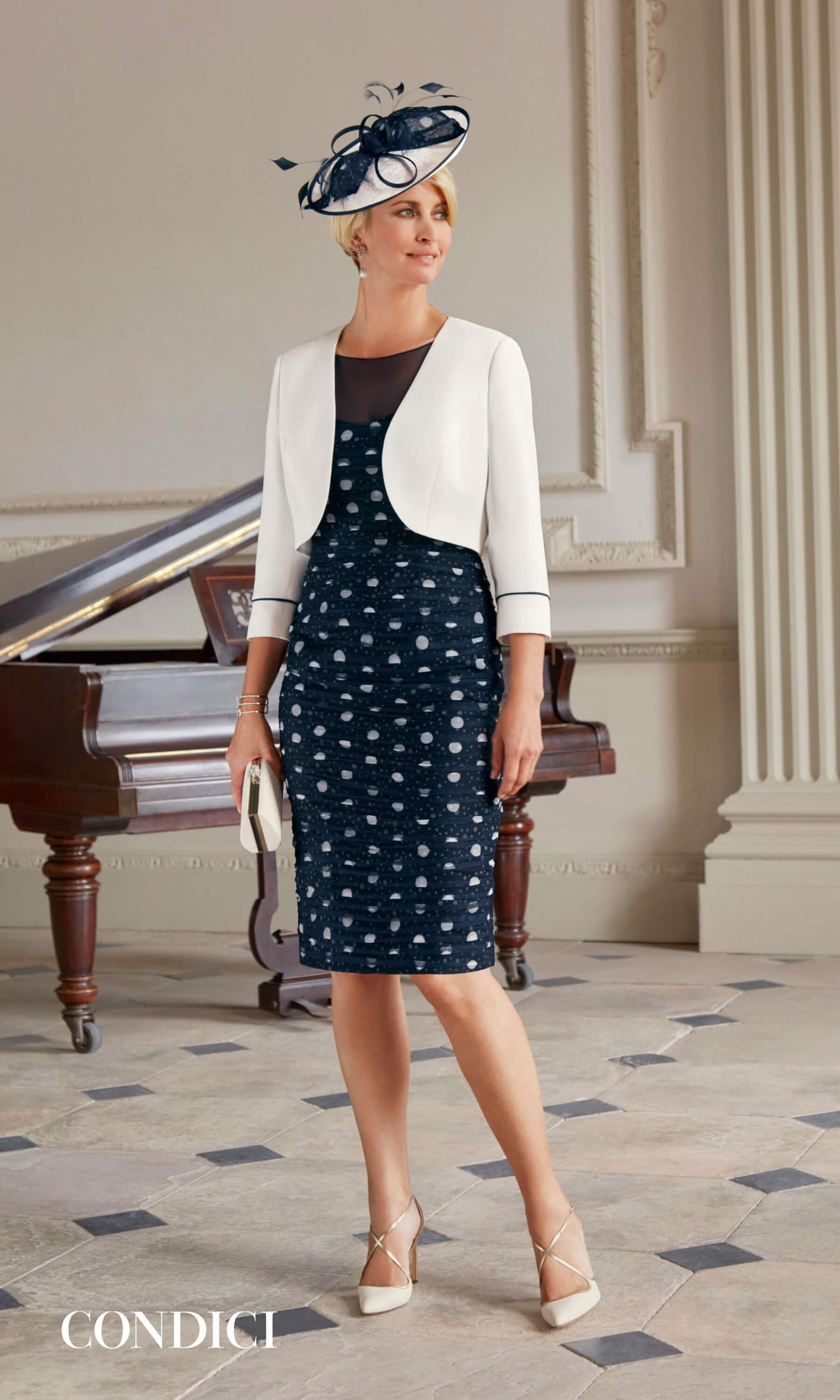 70932 Cream Navy Condici Ruched Polka Dot Dress & Bolero - Fab Frocks