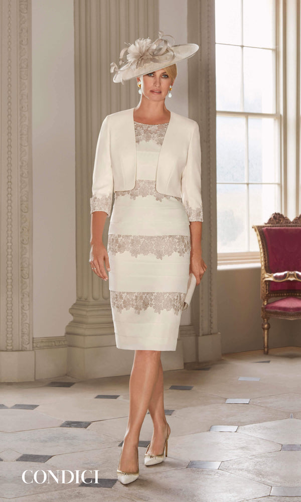 70934 Bisque Condici Layered Lace Dress And Bolero - Fab Frocks
